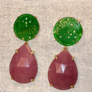 pendientes zhou en color marron y verde